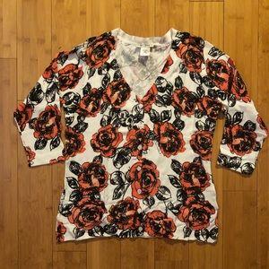 Floral V-Neck Cardigan size M